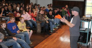 Bigfoot researcher talks with students