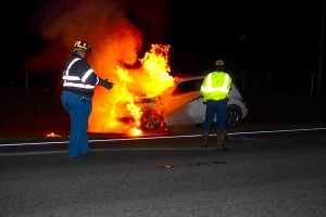 Cruiser hits deer and catches fire on SR 20