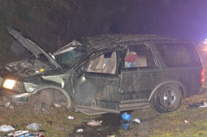 Man injured when vehicle overturns during rainstorm
