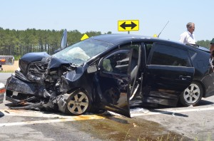 Collision sends three to hospital