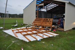 Tornado touches down in Calhoun County; high winds damage hangers and airplanes