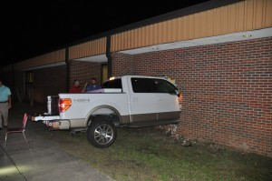 Truck runs into wall at LCHS Monday night