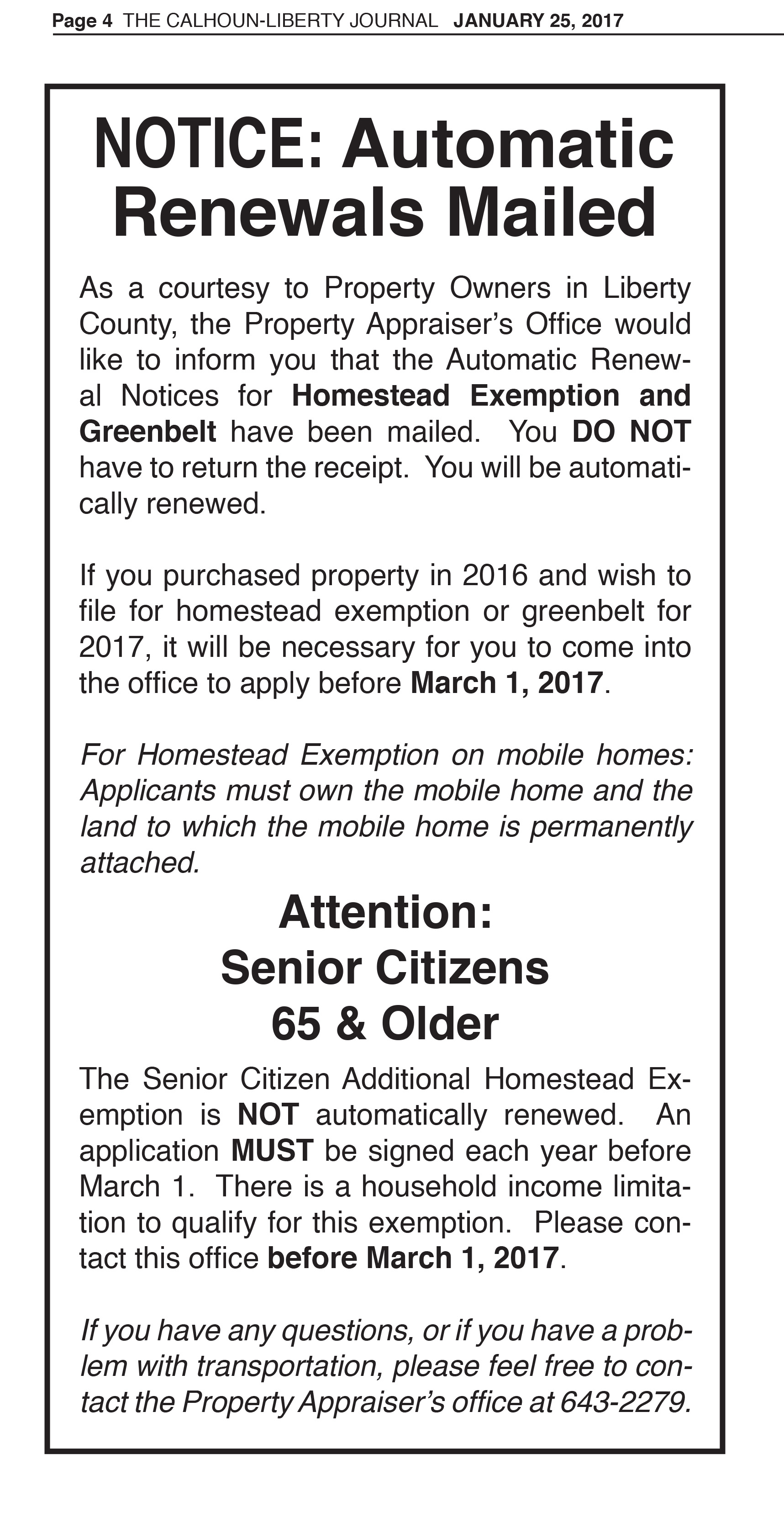 LC Property Appraiser, Notice, Automatic Renewal Notices
