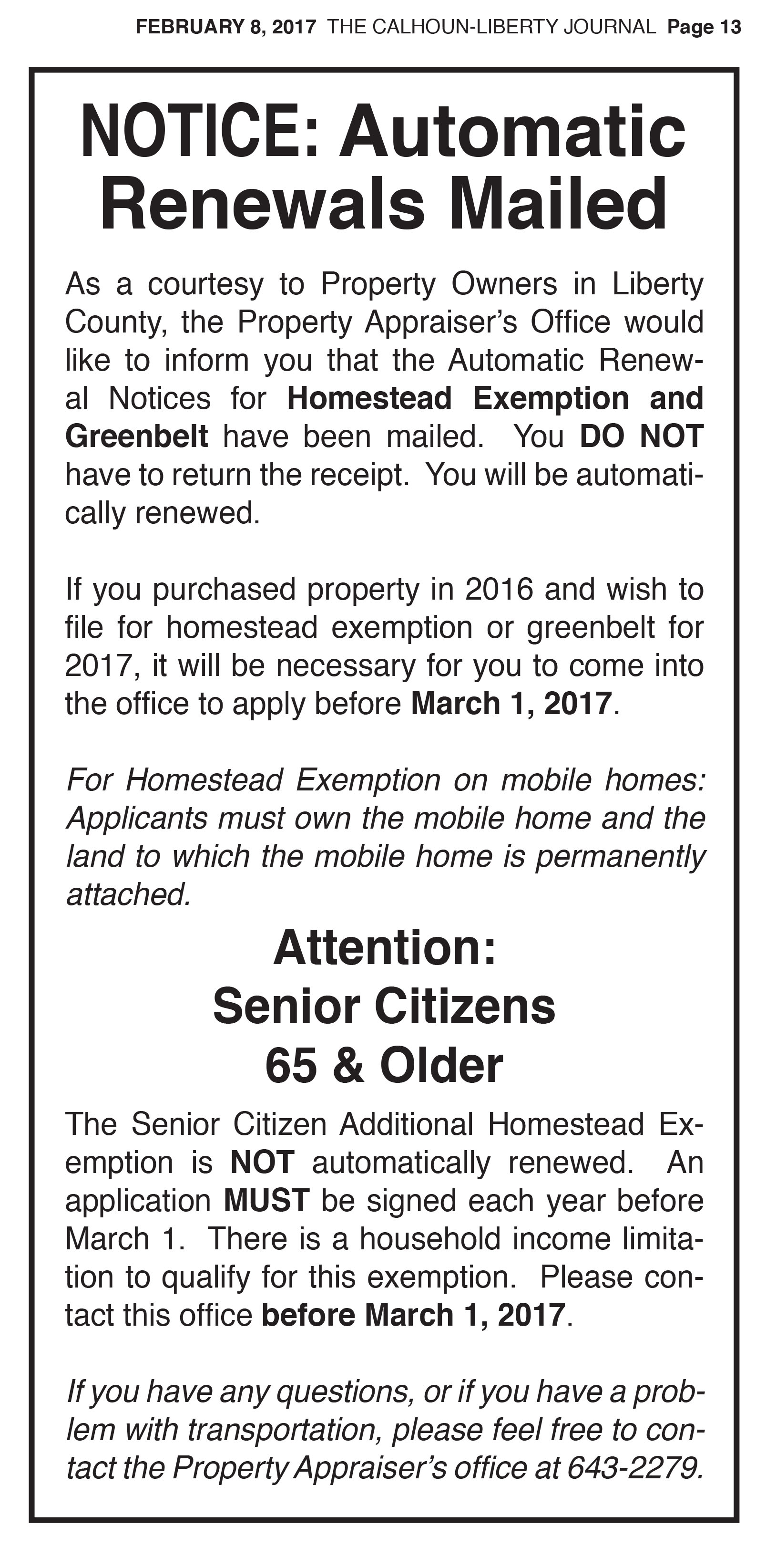 LC Property Appraiser, Automatic Renewal of Homestead Exemption & Greenbelt
