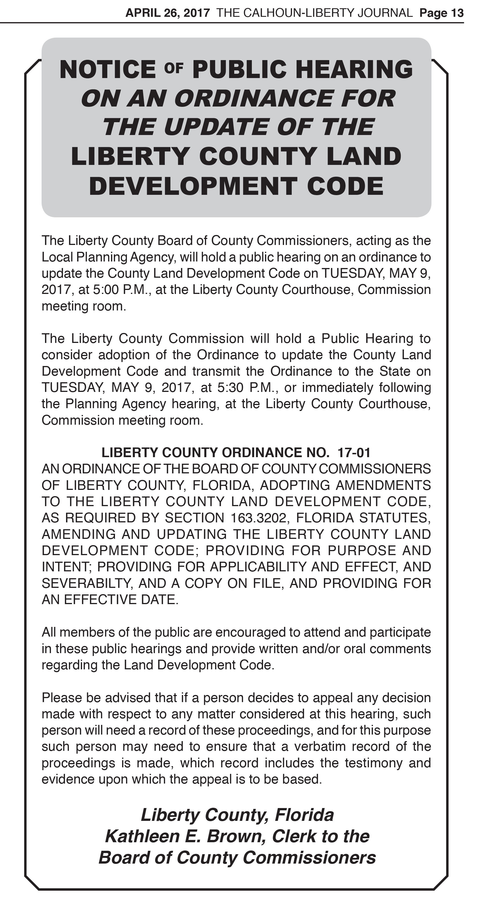 LCBCC Notice of Public Hearing, Ordinance No. 17-01