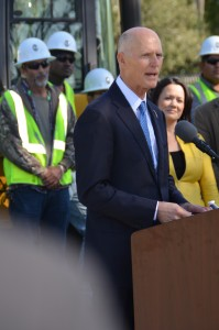 Gov. Rick Scott announces the grant for Liberty County along with several others for communities throughout the state at yesterday's press conference. JOHNNY EUBANKS PHOTO